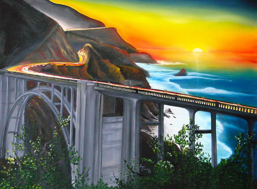Bixby Coastal Bridge Of California At Sunset Painting by Portland Art Creations
