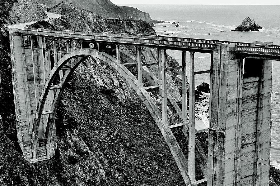 Bridge Photograph - Bixby Creek Bridge Black And White by Benjamin Yeager