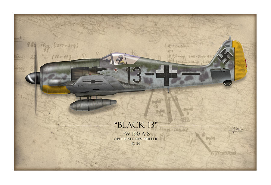Aviation Painting - Black 13 Focke-wulf Fw 190 - Map Background by Craig Tinder