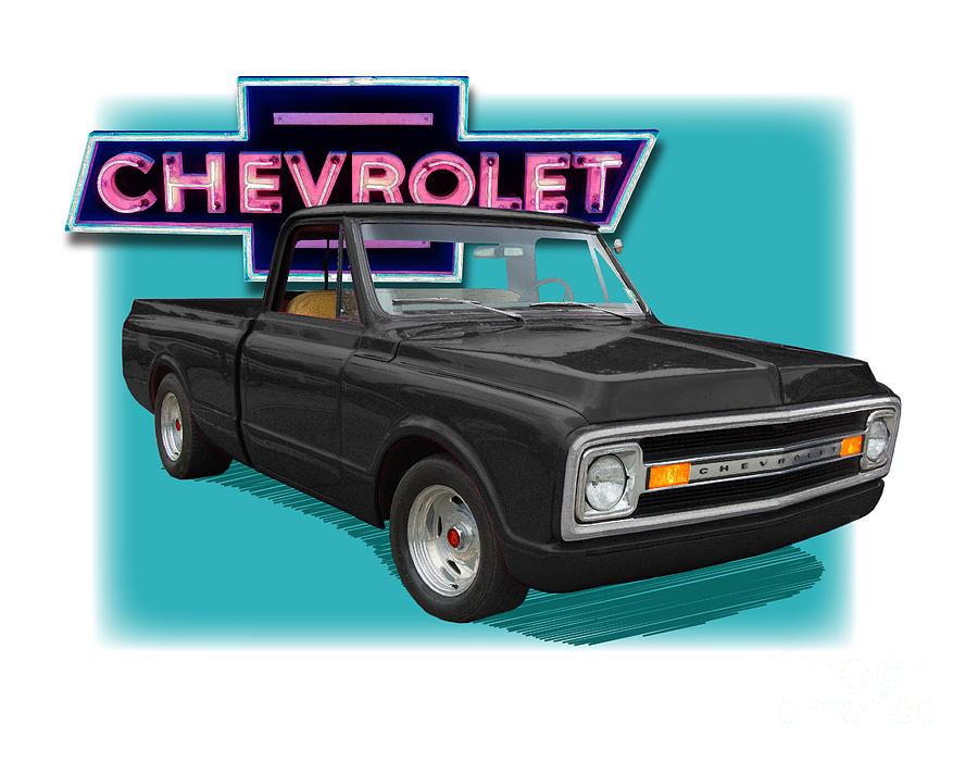 Classic Digital Art - Black 1969 Chevy Pu 1969  by Dan Knowler