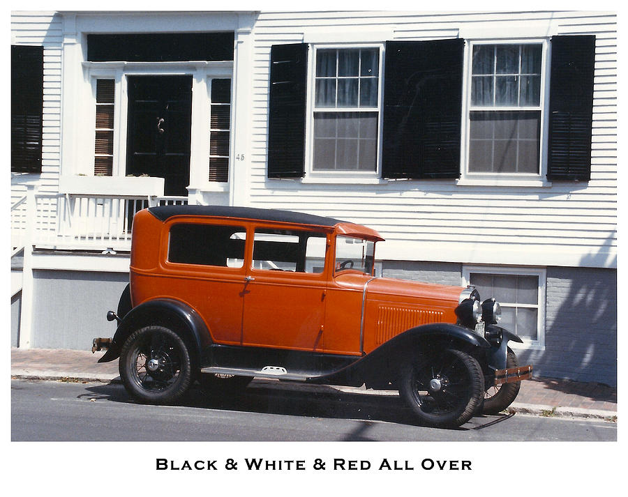 Antique Cars Photograph - Black And White And Red All Over by Lorenzo Laiken