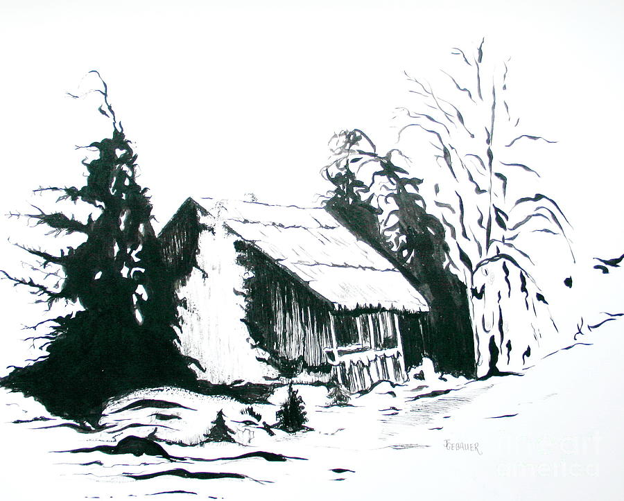 Barn Drawing - Black And White Barn In Snow by Joyce Gebauer