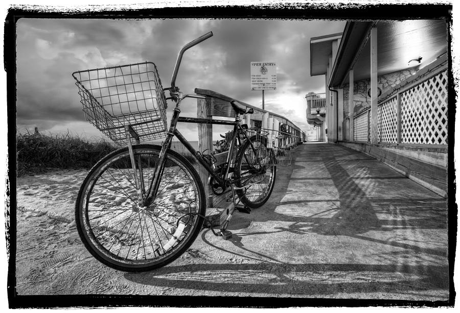 Clouds photograph black and white beach bike by debra and dave vanderlaan