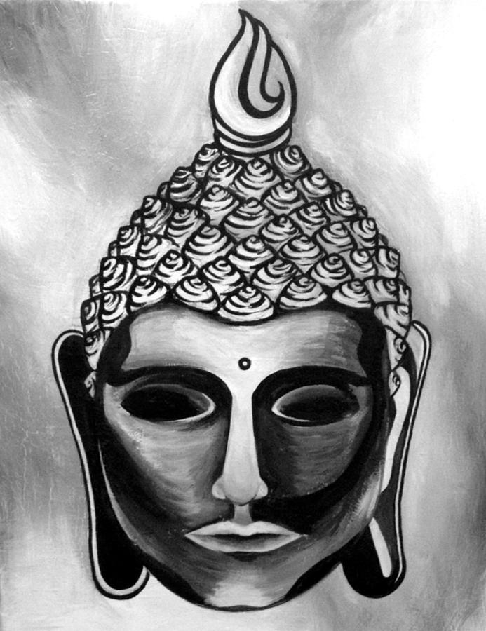 Buddha Black And White Painting