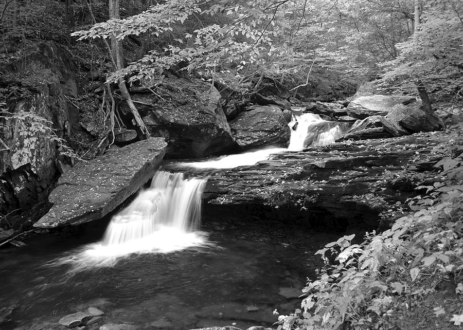 Cascade Photograph - Black And White Cascade by Frozen in Time Fine Art Photography