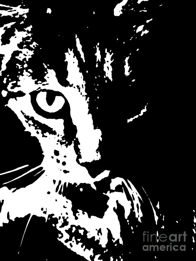 Black digital art black and white cat by janice westerberg
