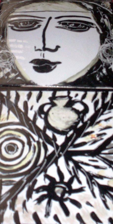 Tiles Ceramic Art - Black And White by Catherine Walker