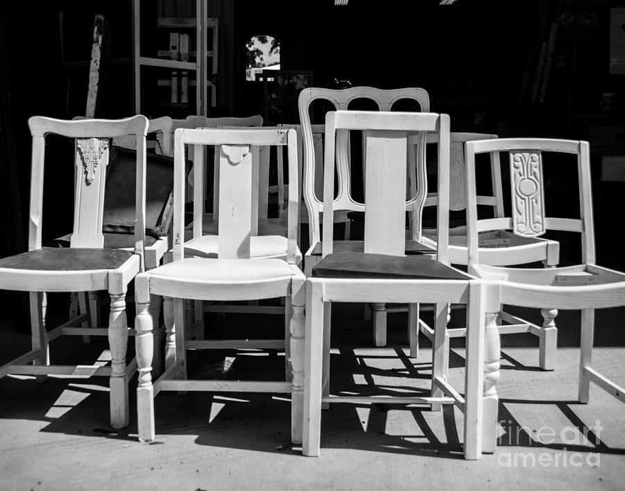 Chairs Photograph - Black And White Chairs by Sonja Quintero
