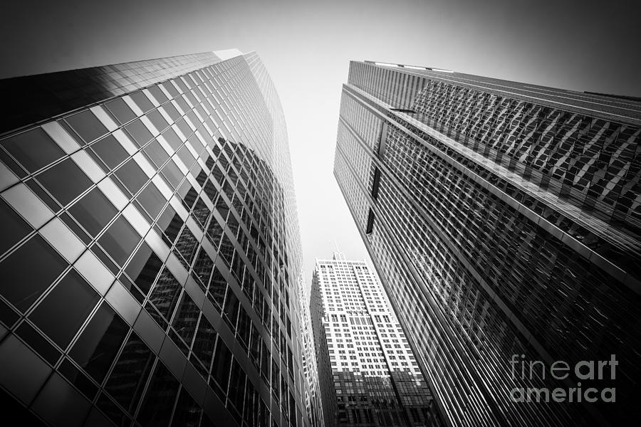 America photograph black and white chicago downtown city office buildings by paul velgos