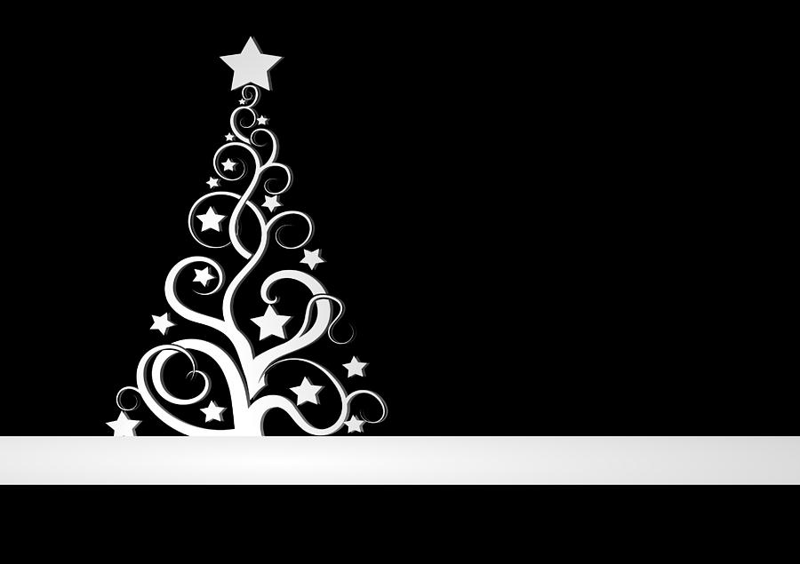 Black And White Christmas Card Digital Art by Martin Capek