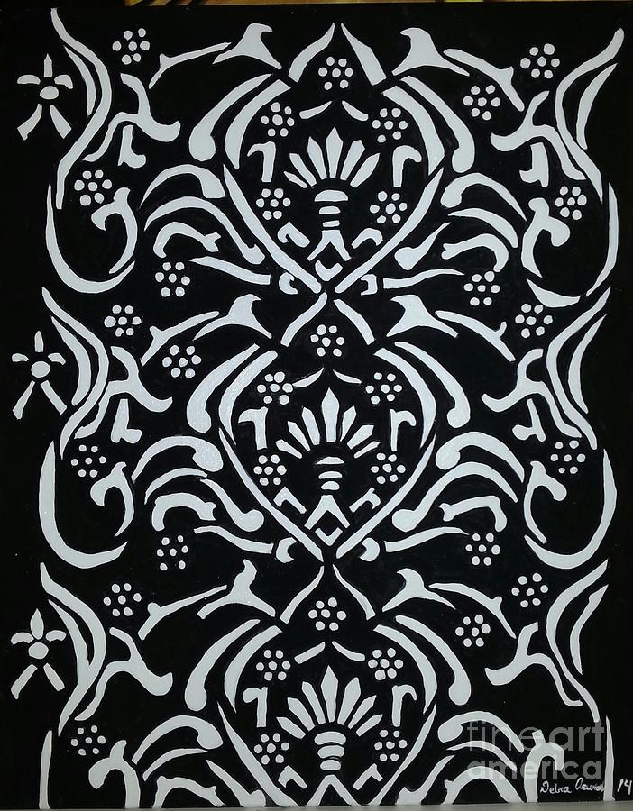 Abstract Tapestry - Textile - Black And White Classic Damask by Debra Acevedo