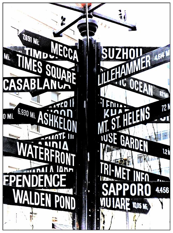 Downtown Portland Photograph - Black And White Directions  by Cathie Tyler