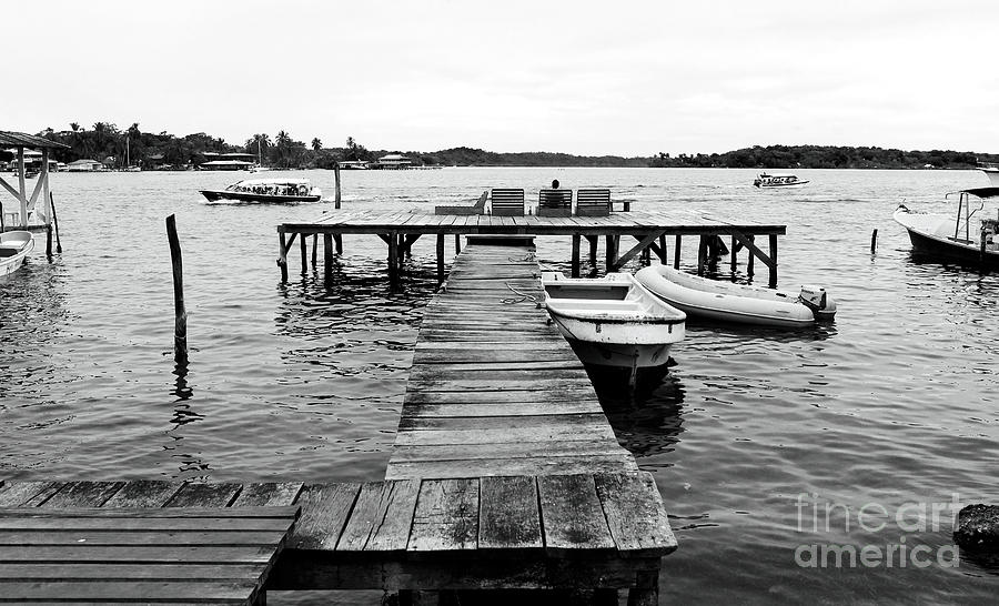 Gallery Wrap Photograph - Black And White Dock by John Rizzuto