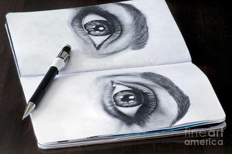 Sketchbook Drawing - Black And White Eyes by Laura Kayon
