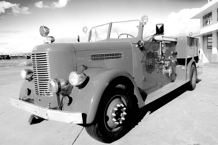 Fire Engine Photograph - Black And White Fire Truck by Lisa Cortez