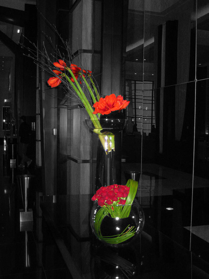 Black and white photograph black and white floral arrangement with red color splash by willie