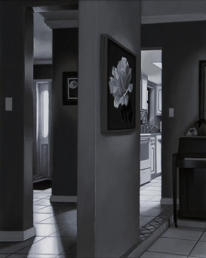 Interior Painting - Black And White Foyer by Tony Chimento