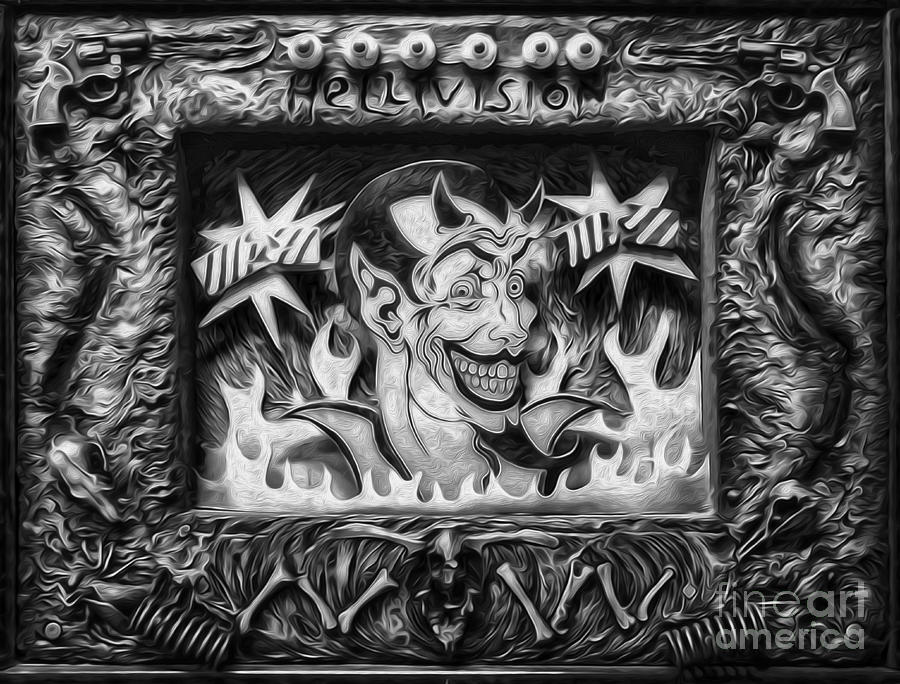 Devil Painting - Black And White Hellivision by Gregory Dyer