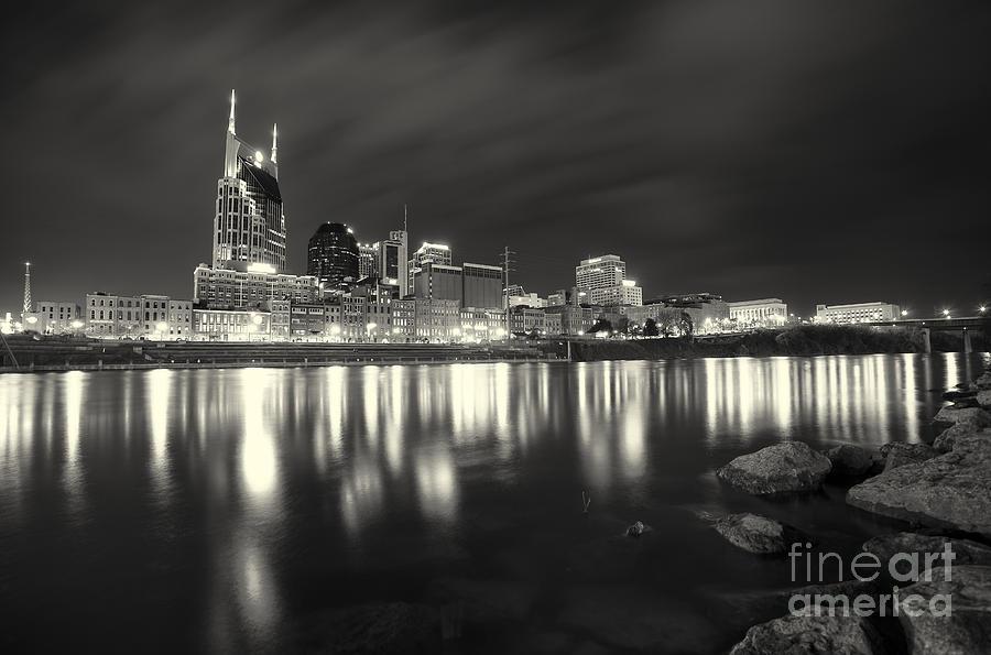 Nashville Photograph - Black And White Image Of Nashville Tn Skyline  by Jeremy Holmes