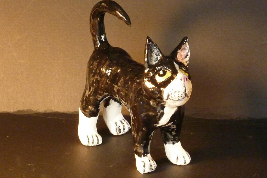 Kitten Sculpture - Black And White Kitty by Debbie Limoli
