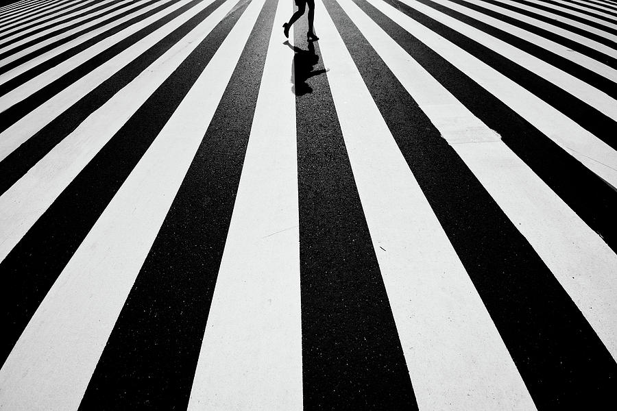 Street Photograph - Black And White by Kouji Tomihisa