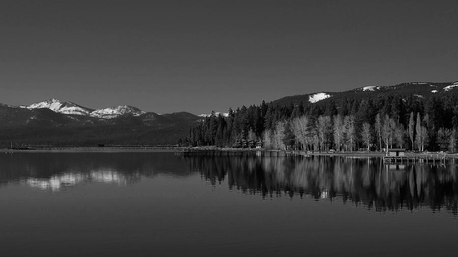 Black and White Lake Tahoe Reflection by Marilyn MacCrakin