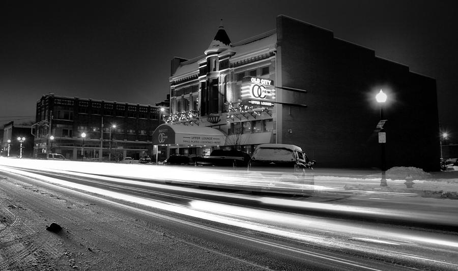 Black And White Night Photograph - Black And White Light Painting Old City Prime by Dan Sproul