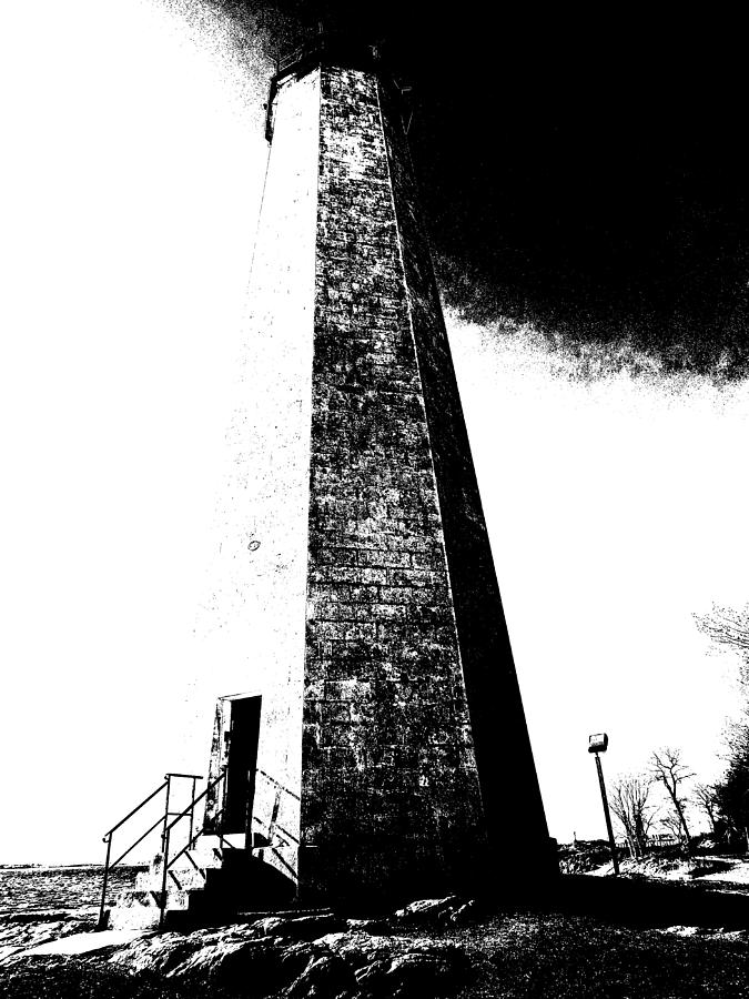 Lighthouse Photograph - Black And White Lighthouse by Stephen Melcher