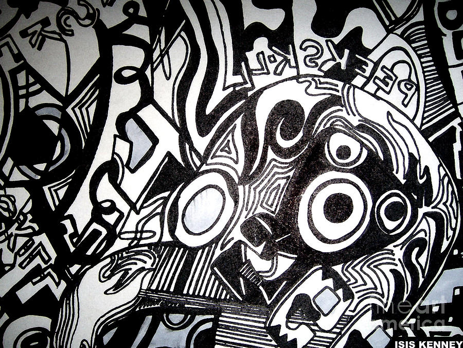 Black And White Line Art : Black and white line drawing by isis kenney
