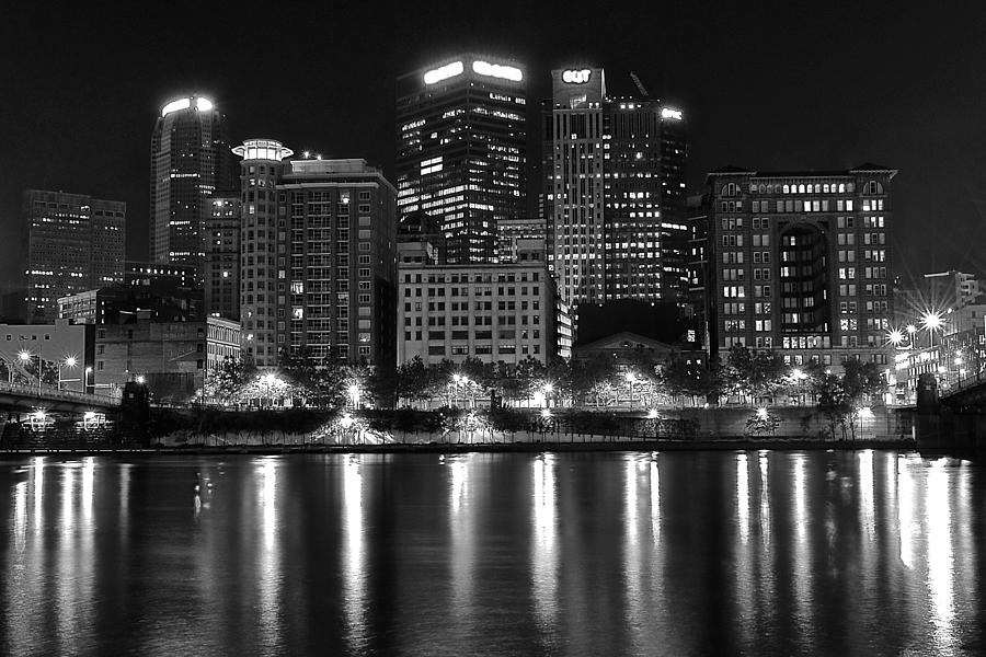 Pittsburgh Photograph - Black And White Night In Pa by Frozen in Time Fine Art Photography
