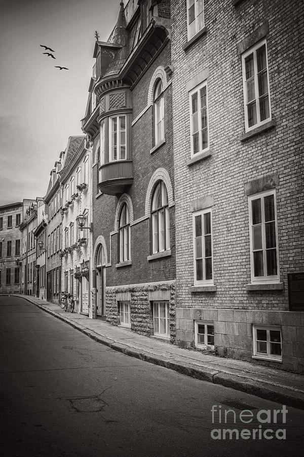 Canada photograph black and white old style photo of old quebec city by edward fielding