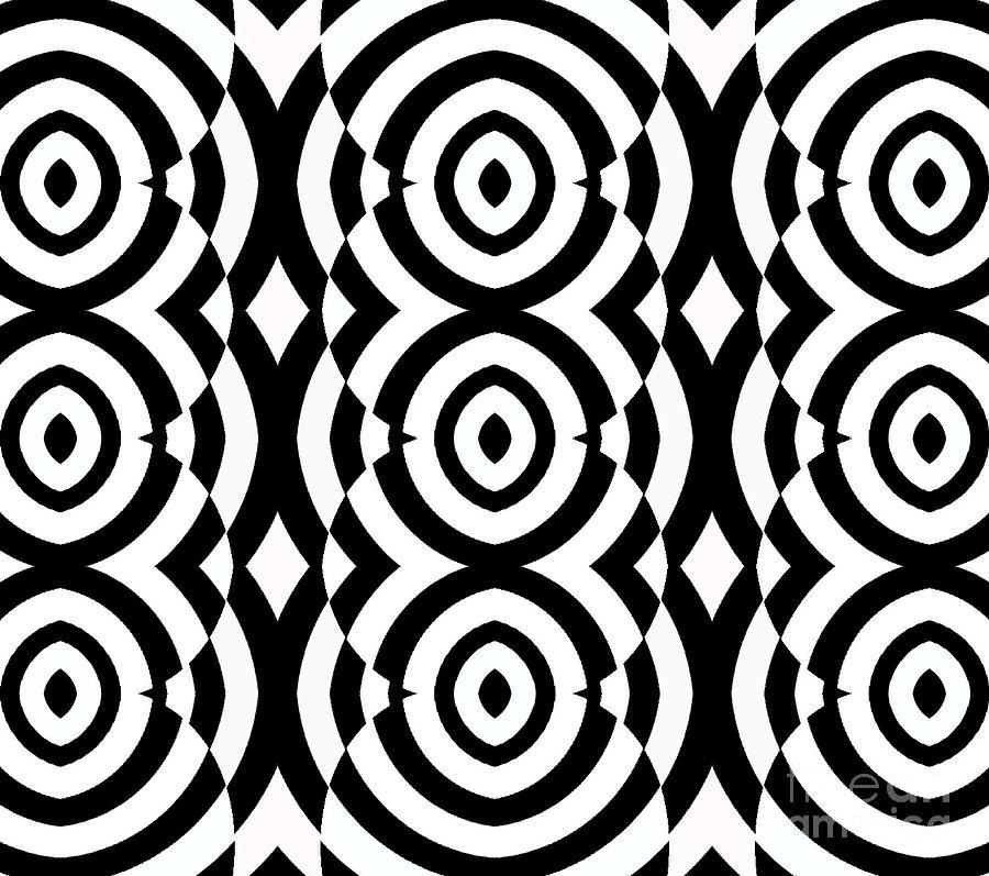 Pattern Digital Art - Black And White Op Art Pattern No.249. by Drinka Mercep