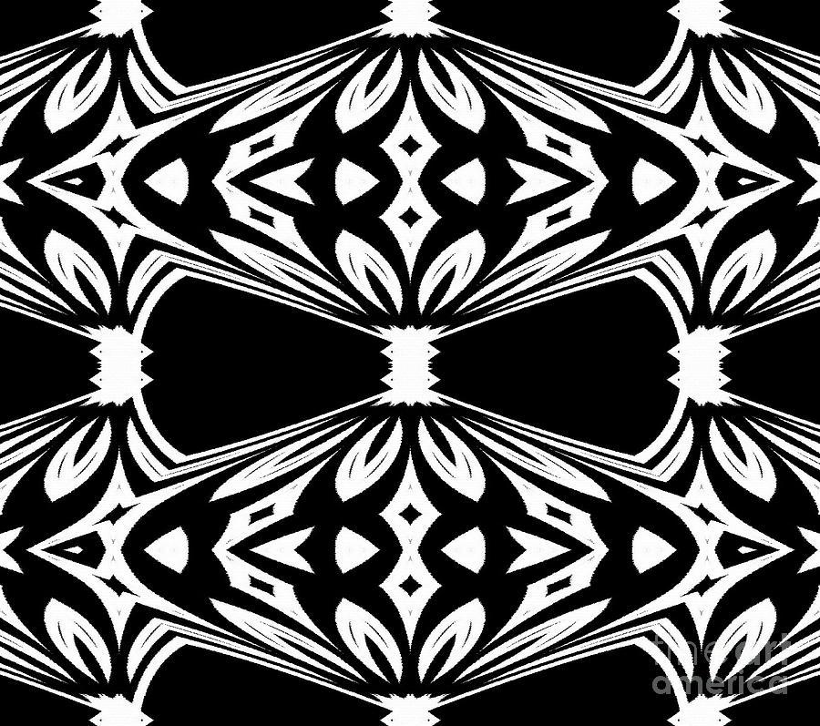 Illustration Digital Art - Black And White Pattern No.265 by Drinka Mercep