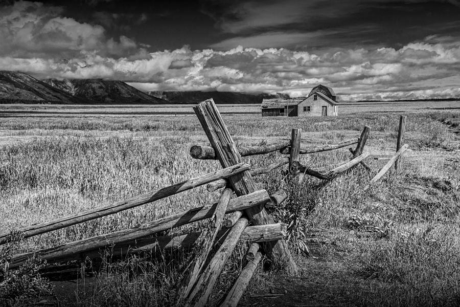 Black And White Photo Of A Wood Fence At The John Moulton ...