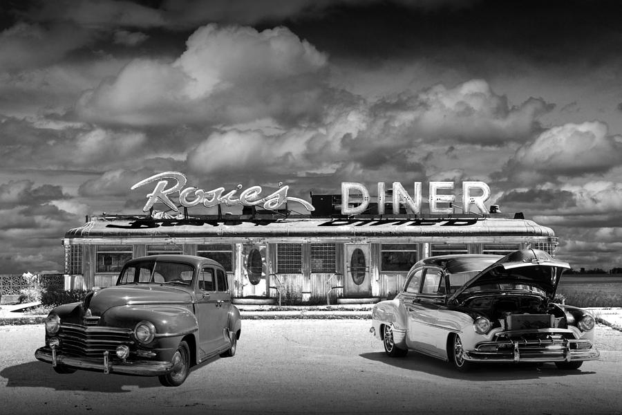 Black And White Photo Of Historic Rosie\'s Diner With Vintage ...