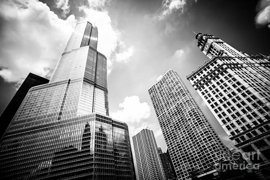America photograph black and white picture of chicago new and old buildings by paul velgos
