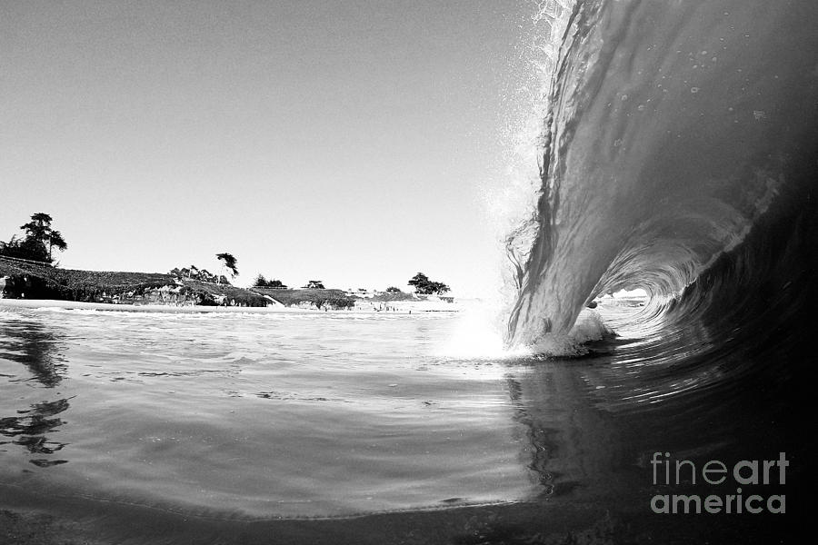 Wave Photograph - Black And White Santa Cruz Wave by Paul Topp