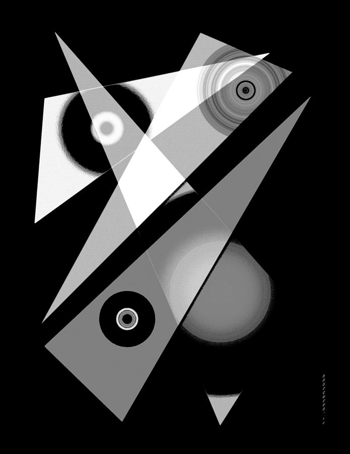 Black And White Digital Art - Black And White Shapes Art by Mario Perez