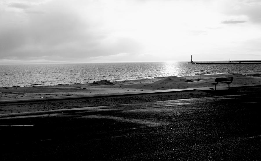 Winter On Lake Michigan With Beach And Lighthouse Pier At Sunset Black White Photograph By