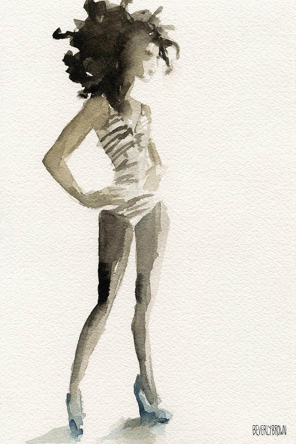 Neutral painting black and white stripes 3 watercolor fashion woman art print by beverly brown