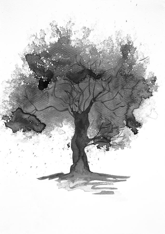 black and white tree watercolour painting by steve and jenni thorp