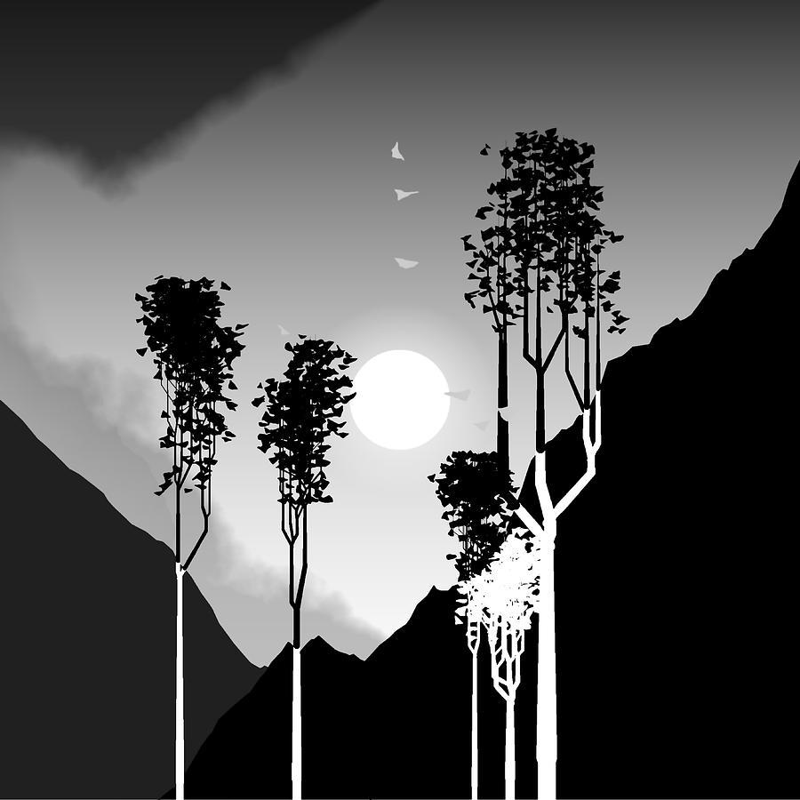 Trees Digital Art - Black And White Trees by GuoJun Pan