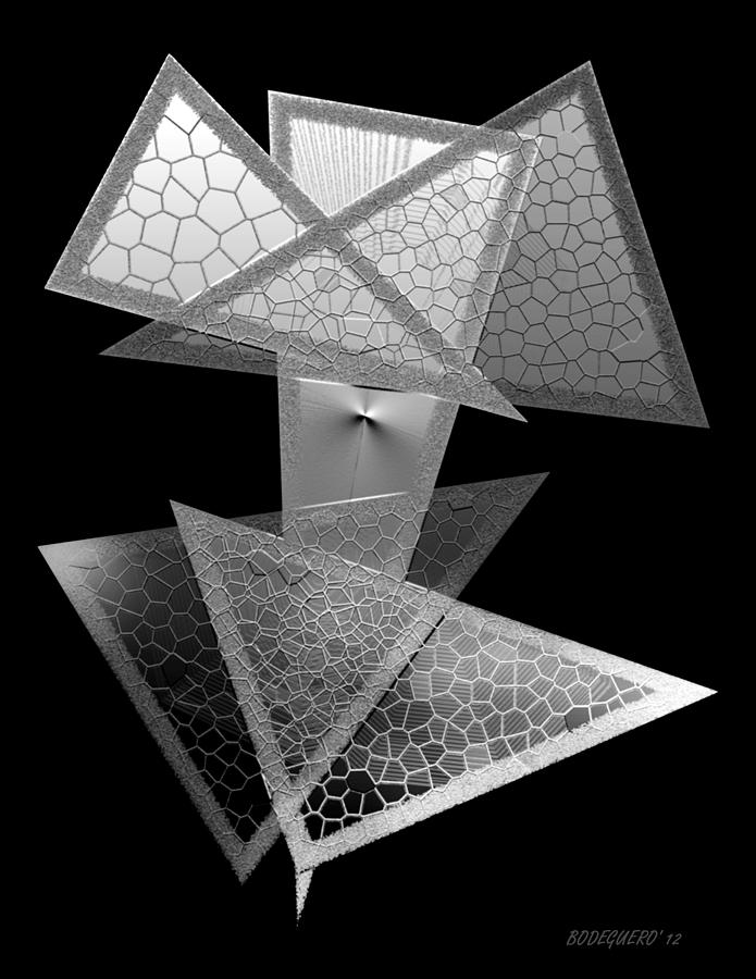 Triangle Art Digital Art - Black And White Triangles by Mario Perez