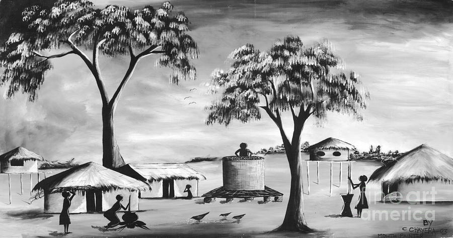 African Painting - Black And White Village by Mount painter-Chrisfold Chayera