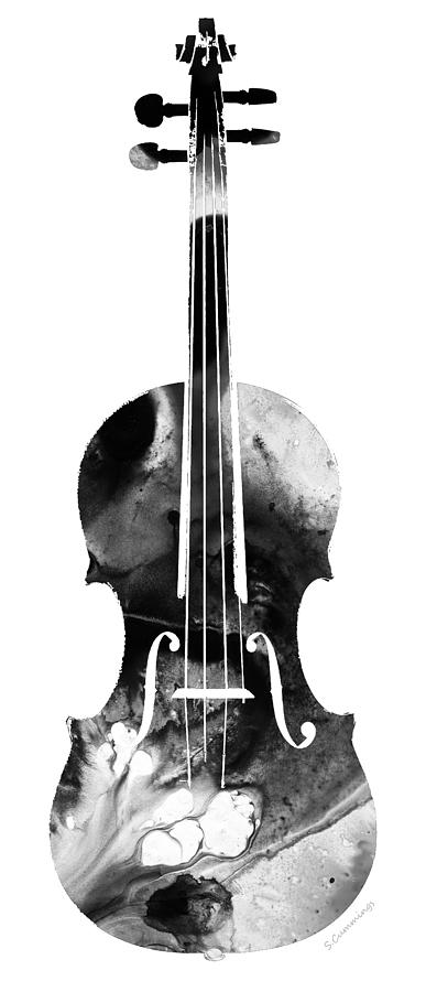 Violin Painting - Black And White Violin Art By Sharon Cummings by Sharon Cummings