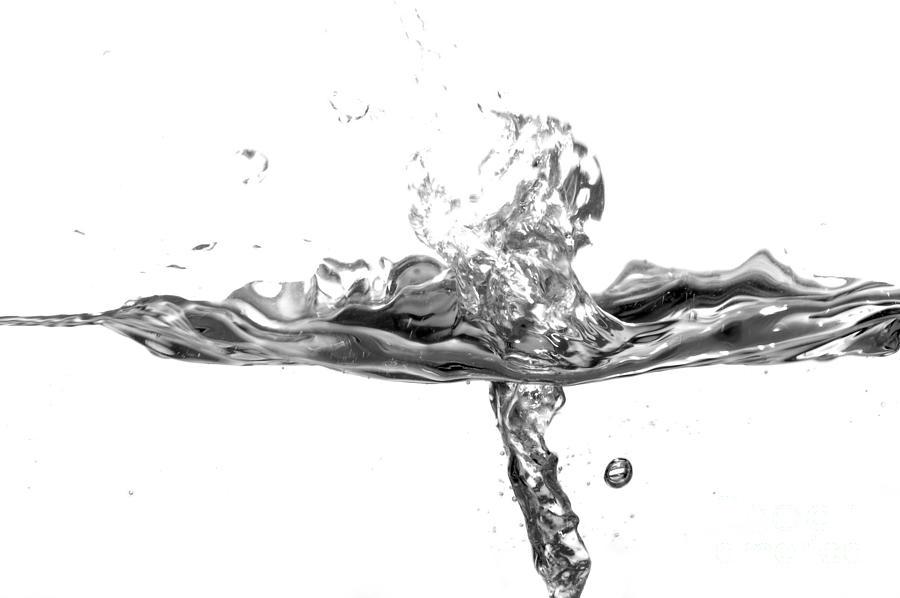 Black And White Water Splash Photograph By Michal Bednarek
