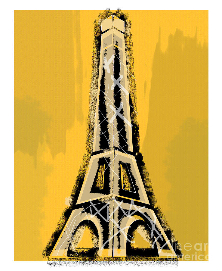 Black And Yellow Eiffel Tower Paris Painting by Robyn Saunders