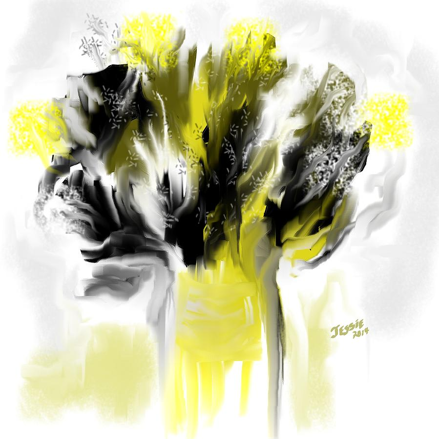 Black And Yellow Flower Bouquet Painting By Jessica Wright