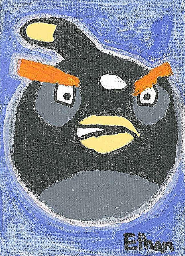 Black Angry Bird Painting by Fred Hanna