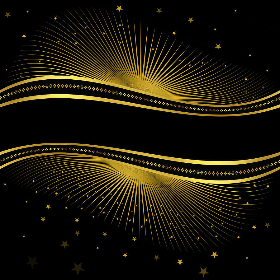 Black background with gold lights and space for your text Drawing by Veronaa